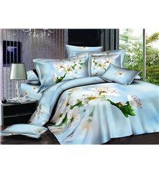 White Pear Blossom Printing Sky Blue 4-Piece Cotton Duvet Cover Sets