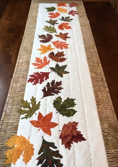 Falling Leaves Table Runner by QuiltedGiftsbyVicki on Etsy