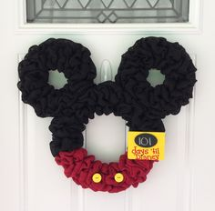 Mickey Mouse wreath - Burlap wreath - Countdown to Disney - Personalized Mickey - party decor - nursery decor - mickey mouse club by TheCraftinBear on Etsy