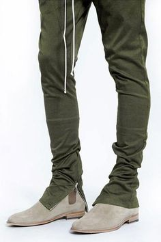 Fear of God Yeezy Rick Owens Drawstring Zippered Bottom Pants - Olive