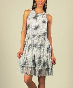Look what I found on #zulily! Navy & White Tie-Dye Smocked Dress - Women & Plus #zulilyfinds
