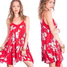 New Red Floral Boho Swing Dress Flowy cute new red floral dress. Loose fitting with adjustable straps. Fits S/M. Lace detailing on top and bottom sides of dress. A perfect summer dress! Umgee Dresses Mini