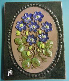 Swedish retro vintage jie Gantofta small ceramic wall plaque with blue/ green Blue Anemone flowers, design by Aimo Anemone Flower, Flowers, New Product, Product Launch, Retro Home, Wall Plaques, 1960s, Blue Green, Retro Vintage