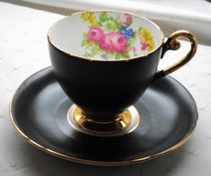 SHELLEY ROSE ROYAL SATIN BLACK RIPON TEA CUP AND SAUCER
