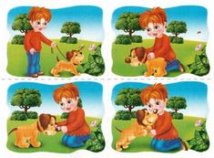 Histoire en séquence - Chien - 4 images Sequencing Pictures, Story Sequencing, Speech Language Therapy, Speech And Language, 4 Image, English Test, Test Card, Play Therapy, Special Education