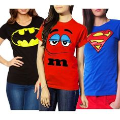 Pack of 3 - Batman, M&M & Superman T-shirts for Women Superman T Shirt, Batman, Deal Today, T Shirts For Women, Tops, Fashion, Moda, T Shirt Superman, Fashion Styles