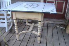 Antique Vintage Mochi Porcelain Enamel Table Chair Set with Drawer All Original | eBay