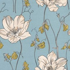 Albany Fashion (FD30975) - Albany Wallpapers - A pretty stylised floral design, combining two flowers, one large cream bloom and the other a lime green sweet pea type on a fresh sky blue strie stripe background. Other colours available. Please request sample for true colour match.