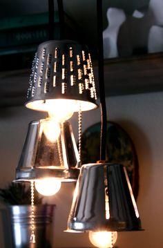 Industrial Pendant Lights - upcycle - repurposed, stainless steel, lamp, lighting, kitchen, bar. $48.00, via Etsy.