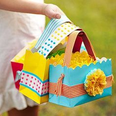 Easter decoration and Crafts for kids : Cute idea for reusing gift bags that have been crushed or have ripped tops.