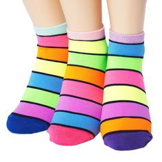 FLUORESCENCE LINE SOCKS 3PAIRS=1PACK Made in KOREA women woman girl big kids fun #COLORMIX #allStyle