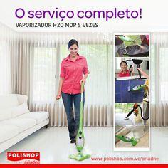 VAPORIZADOR H2O MOP 5 VEZES 5x mais limpeza: limpa, higieniza e desodoriza a sua casa, em uma única passada! www.polishop.com.vc/ariadne