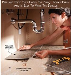 line your cabinet under the kitchen sink with peel and stick tile. Easy to wipe and helps cover already damaged cabinet bottom or helps to protect a new cabinet. @ Home Design Pins Peel And Stick Tile, Stick On Tiles, Peal And Stick Backsplash, Peel And Stick Countertop, Home Renovation, Home Remodeling, Kitchen Remodeling, Bathroom Renovations, Remodel Bathroom