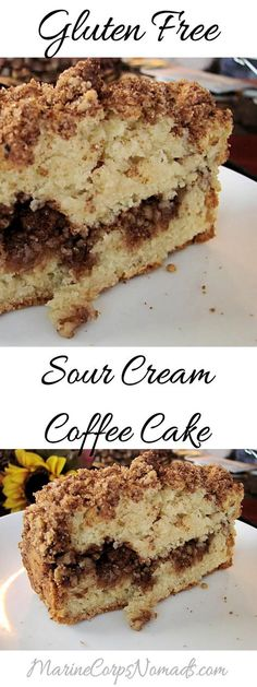 Gluten Free Sour Cream Coffee Cake - Marine Corps Nomads - Food - Healt and fitness Gluten Free Coffee Cake, Gluten Free Sweets, Gluten Free Cakes, Gluten Free Baking, Paleo Coffee Cake, Gluten Free Quick Bread, Gluten Free Sourdough Bread, Best Gluten Free Recipes, Egg Recipes For Breakfast