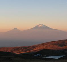 View of Mount Ararat from mount Aragats