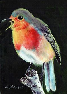 ACEO TW NOV Original Painting English Robin birds wildlife wings fly red song  #Impressionism