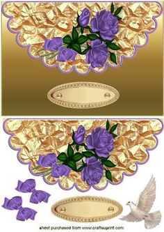 BEAUTIFUL PURPLE ROSES WITH DOVE ON SCALLOPED ENVELOPE on Craftsuprint - Add To Basket!
