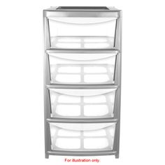 Silver Storage Unit. 4 drawers. Clear. Perfect for storing anything from clothes to magazines - helps keep your home tidy!