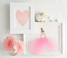 Pink ballerina & Pink Heart Nursery Art- LIMITED TIME OFFER- nursery, nursery…