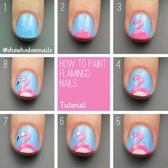 how to paint a flamingo nail art tutorial #diy #nails #nailart