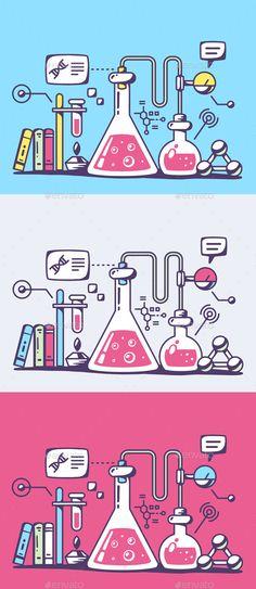 Chemical Laboratory Flasks (Vector EPS, CS, analysis, biotechnology, chemical…