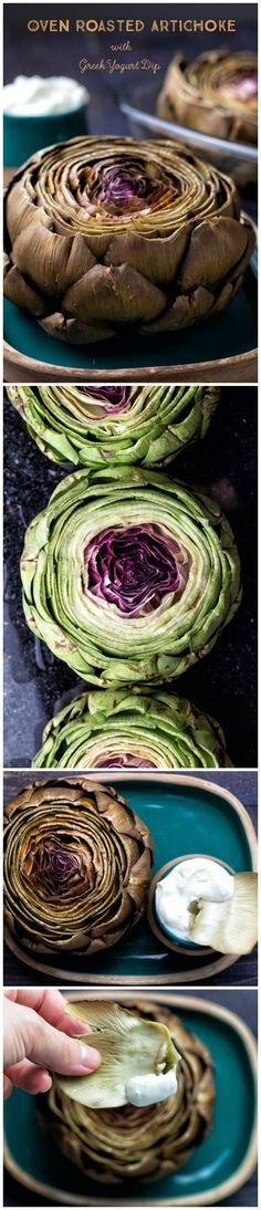 Oven Roasted Artichokes with Greek Yogurt Dip are easy to make, healthy and absolute heaven for veggie lovers.