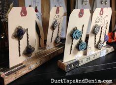 Vintage folding rulers flea market display for bobby pins | DuctTapeAndDenim.com