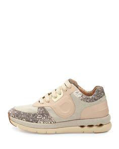 Salvatore Ferragamo Morgan Linen & Leather Sneaker, Cream