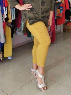 Spodnie z bengaliny Cevlar B08 kolor musztarda miodowa - Big Sister