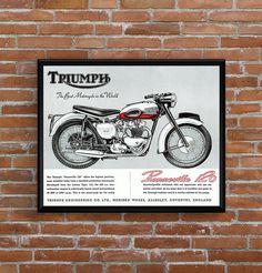 Affiche TRIUMPH Bonneville 1958 - Garage Atelier Vintage - Limited Edition