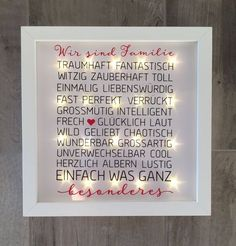 illuminated picture frame with spell wall led frame decoration beleuchteter bilderrahmen. Black Bedroom Furniture Sets. Home Design Ideas