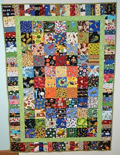 I spy quilt. The center is pieced with 77 - I Spy blocks. The outer border is made by joining 2 x rectangles. The outer border also has a block to anchor each corner. Finished size is approximately x Quilt Baby, I Spy Quilt, Boy Quilts, Scrappy Quilt Patterns, Scrappy Quilts, Block Patterns, Quilt Blocks, Quilting Projects, Quilting Designs