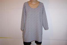 CJ BANKS Shirt Top Plus Sz 1X Black White Spandex Stretch 3/4 Sleeves Womens #CJBanks #KnitTop #Casual