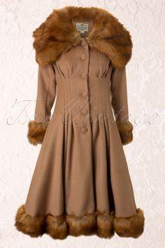 Collectif Clothing - 30s Pearl Coat Beige