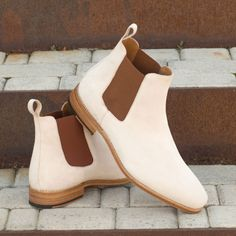 Custom Made Goodyear Welted Chelsea Boot Classic in Ivory Kid Suede Custom Design Shoes, Custom Shoes, Calf Leather, Leather Shoes, Suede Chelsea Boots, Slip On Boots, Goodyear Welt, Natural Leather, Your Shoes