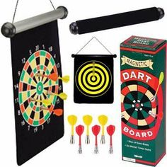 """Magnetic Darts by Toysmith. $13.01. Recommended Age Rage Five & Up. From the Manufacturer                Roll-up game board makes this dart set portable!  Double-sided game board unrolls to 10""""X13"""" to reveal a 9"""" diameter target.  Includes six magnetic darts.                                    Product Description                Magnetic Dart Set roll up game board makes this dart set portable! Double sided game board unrolls to 10"""" x 13"""" to reveal a 9"""" diameter target..."""