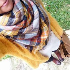 Zara plaid blanket scarf outfit idea.