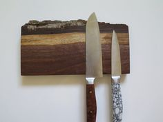 "8"" magnetic knife rack American Walnut natural edge knife holder, solid walnut inc mounting hardware handmade"