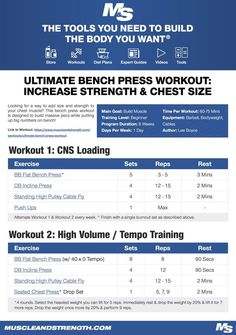 Looking for a way to add size and strength to your chest muscle? This bench press workout is designed to build massive pecs while putting up big numbers on bench! Muscle Gain Workout, Workout Diet Plan, Muscle Building Workouts, Gain Muscle, Build Muscle, Workout Men, Workout Routines, Muscle Men, Interval Workouts
