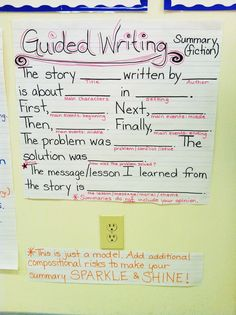 Guided Writing for Summaries (Fiction) Anchor Chart