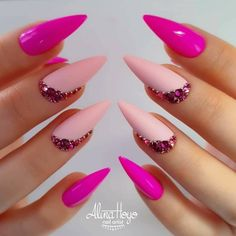 Do you want to try more bold and edgy nails? Then fine stiletto nails are your best choice. Bright Summer Acrylic Nails, Pink Acrylic Nails, Gel Nails, Manicure, Stiletto Nail Art, Pink Nail Art, Pastel Nails, Ongles Bling Bling, Bling Nails