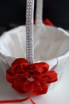 659 best flower girl baskets images on pinterest wedding baskets white red bearer basket set red flower girl by alexemotions mightylinksfo