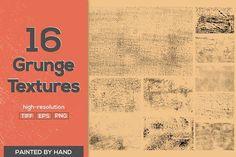 16 Vector Grunge Textures by Alyona Vorotnikova on @creativemarket