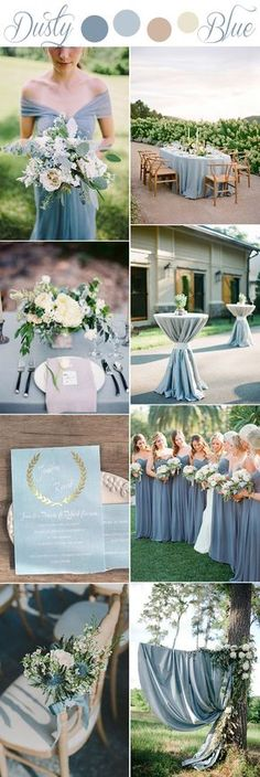 romantic softest dusty blue rustic wedding color ideas