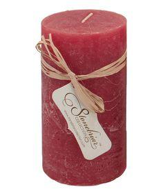 Loving this Worn Red Textured Pillar Candle on #zulily! #zulilyfinds