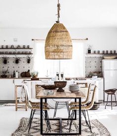 White kitchen, tiles, wood, boho #kitcheninteriordesignbohemian