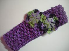 deep purple headband with purple and green by GabbyAbbyCrafts