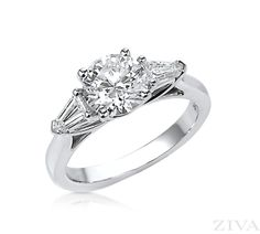 Engagement Ring with Shield Sides