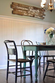 New Ideas For Farmhouse Table Dining Room Diy Benjamin Moore Farmhouse Dining Room Table, Country Kitchen Farmhouse, Dining Room Furniture, Furniture Ideas, Dining Rooms, Modern Farmhouse, Dining Table, Dining Room Paint Colors, Dining Room Design
