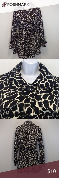 Lu 11 Animal Print Fancy Trench Coat Black/White Super fancy Animal print Trench Coat  with large black buttons. It has black interior. It has been worn and may need a good dry cleaning but I do not see any defects. Lu 11 Jackets & Coats Trench Coats